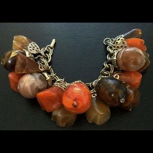 Vintage Jewelry - vintage chunky marbled acorn lucite charm bracelet